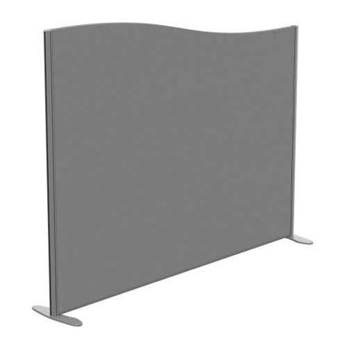 Sprint Eco Freestanding Screen Wave Top W1800xH1400-1200mm Grey - With Stabilising Feet