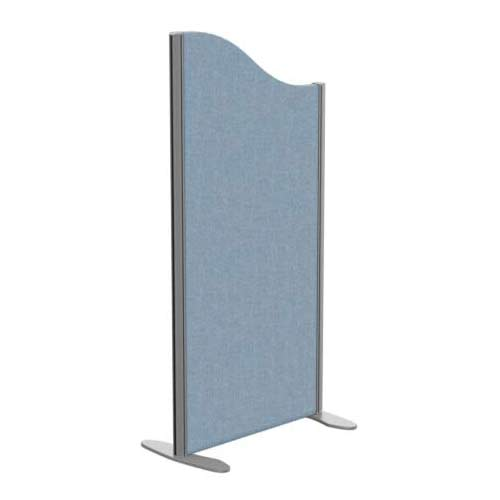 Sprint Eco Freestanding Screen Wave Top W600xH1200-1000mm Light Blue - With Stabilising Feet