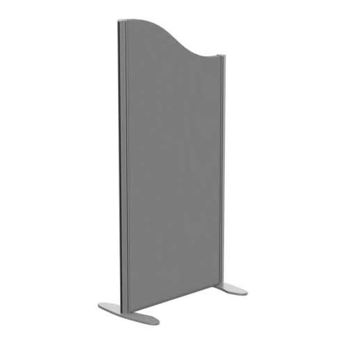 Sprint Eco Freestanding Screen Wave Top W600xH1200-1000mm Grey - With Stabilising Feet