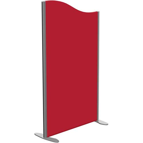Sprint Eco Freestanding Screen Wave Top W800xH1400-1200mm Red - With Stabilising Feet
