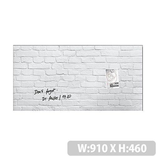 Sigel Artverum Magnetic Glass Whiteboard 910x460mm Design White Stone GL144