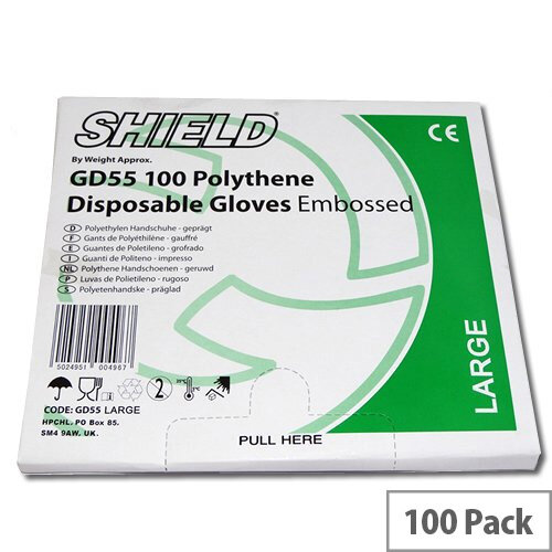 Shield Embossed Polythene Clear Disposable Gloves Large Pack of 100 Shield GD55