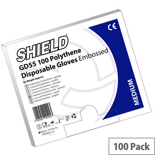 Shield Embossed Polythene Clear Disposable Gloves Medium Pack of 100 Shield GD55