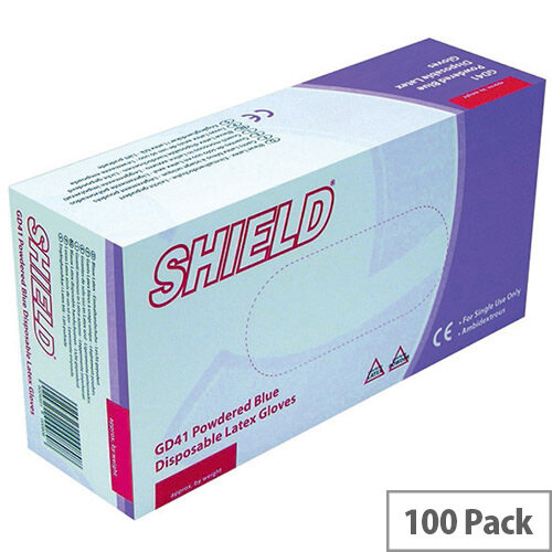 Disposable Powdered Latex Gloves Blue Medium Box of 100 Shield GD41
