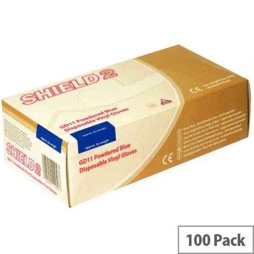 Disposable Powdered Vinyl Gloves Blue Medium Box of 100 Shield 2 GD11