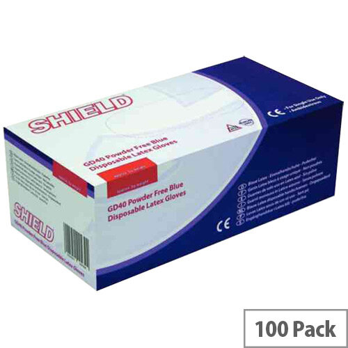 Disposable Powder-Free Latex Gloves Blue Large Box of 100 Shield GD40