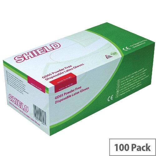Disposable Powder-Free Latex Gloves Medium Box of 100 Shield GD05