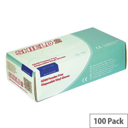 Disposable Powder-Free Vinyl Gloves Clear Large Box of 100 Shield 2 GD09