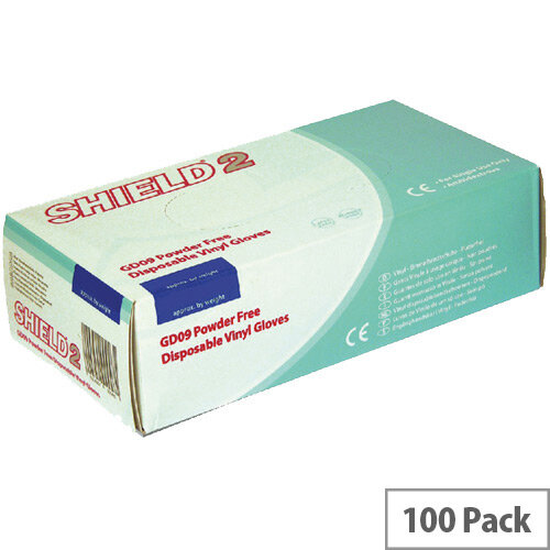 Disposable Powder-Free Vinyl Gloves Clear Medium Box of 100 Shield 2 GD09