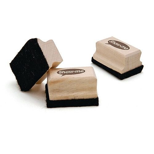 Show-me Wooden Handled Mini Felt Whiteboard Eraser Pack of 30 WME30