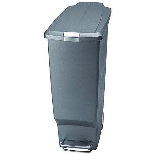 Slim Plastic Waste Pedal Bin 40 Litre Grey 382650