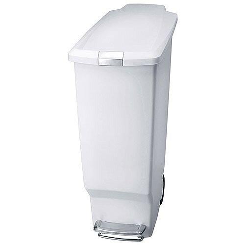 Slim Plastic Waste Pedal Bin 40 Litre White 382649