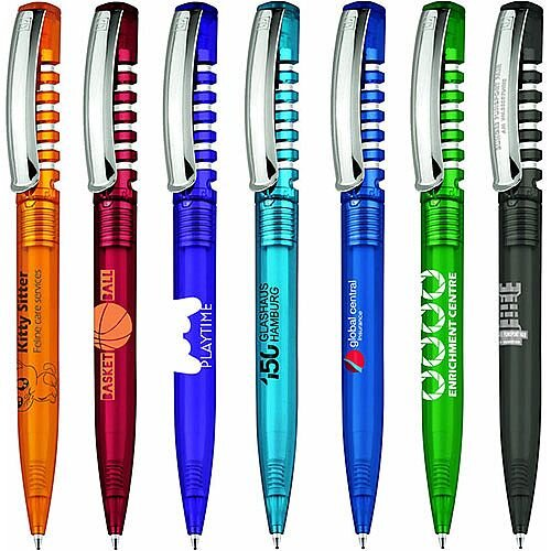 New Spring Metal Clear Barrel Pens 104105551 - Customise with your brand, logo or promo text