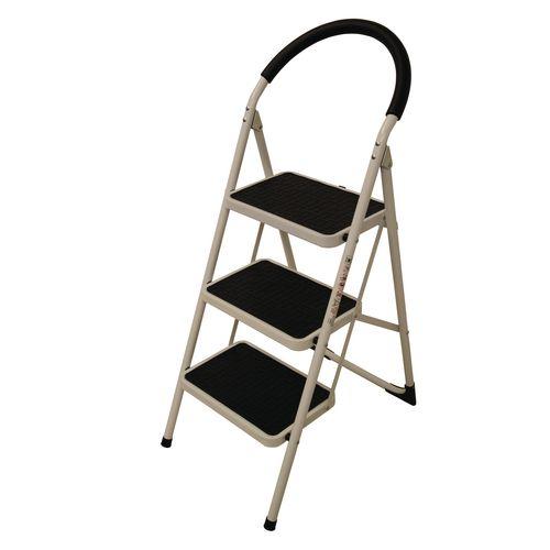 Step Ladder Folding Step Stool 3-Tread Height 720mm White 359294