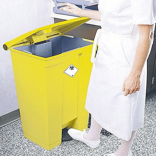Rubbermaid Step-On Bin Clinical Waste Bin 68 Litre 500x410x675mm Yellow 313502