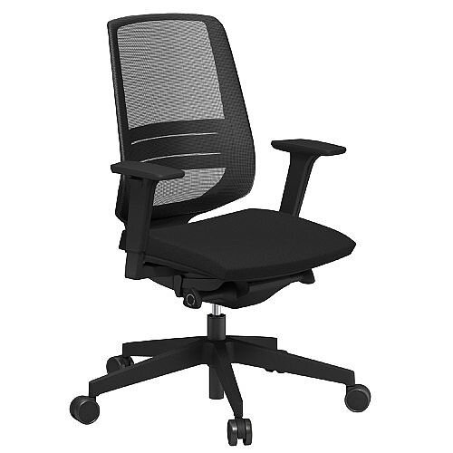 lightup modern design mesh office chair with lumbar support adjustable arms black fabric seat. Black Bedroom Furniture Sets. Home Design Ideas