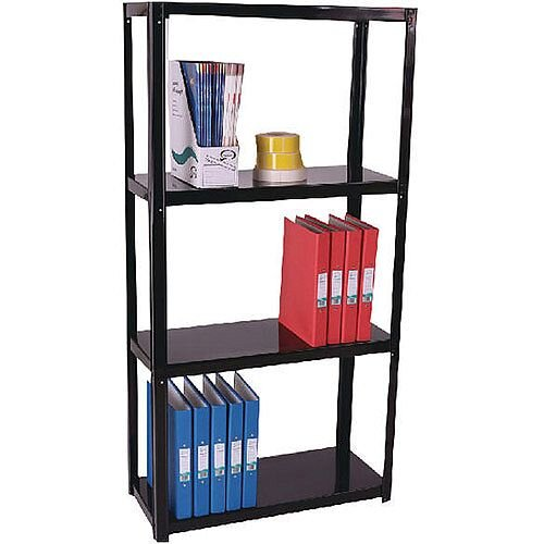 Storage Solutions Light Duty Boltless 4-Shelf Unit Black ZZLS4BK140B07030