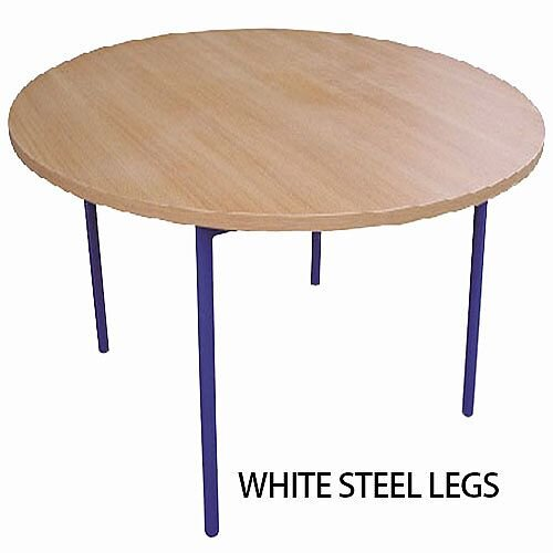 Round Preschool Table Beech White Steel Legs W 1200 x D 500mm