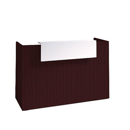 SOVE Minimalist Design Reception Desk W1300mm Dark Walnut With White Counter Top