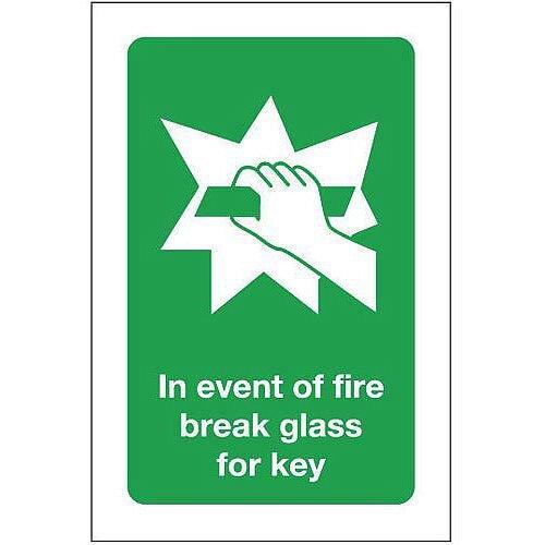 Aluminium In Event Of Fire Break Glass For Key Sign