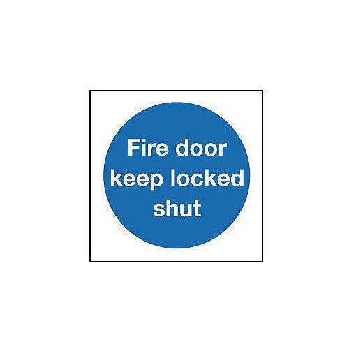 Aluminium Fire Door Keep Locked Shut Sign