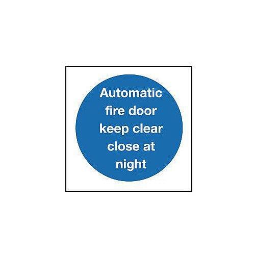 Aluminium Automatic Fire Door Keep Clear Close At Night Sign