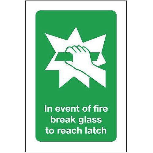 Aluminium In Event Of Fire Break Glass To Reach Latch Sign
