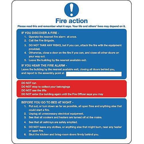 Sign Fire Action Notice 250X300 Aluminium