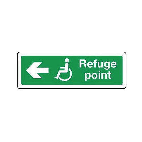 Aluminium Emergency Escape Sign For The Physically Impaired Refuge Point Arrow Left H100xW300mm