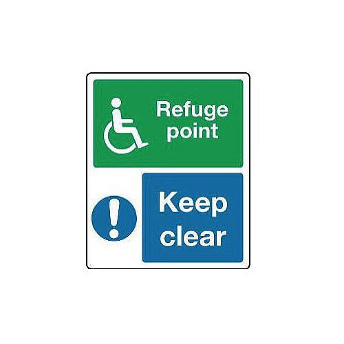 Aluminium Emergency Escape Sign For The Physically Impaired Refuge Point Keep Clear H300xW250mm
