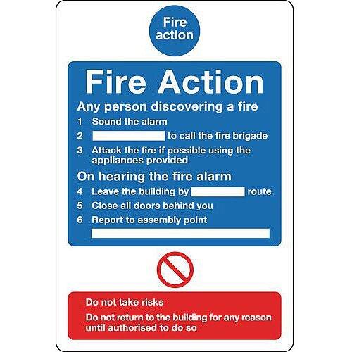 Sign Fire Action Notice 200X250 Aluminium