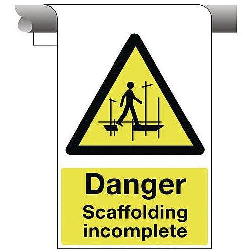 Sign Danger Scaffolding Incomplete 450X600 Aluminium