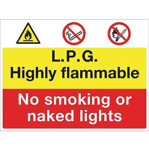 Fire Prevention Signs Lpg Highly Flammable No Smoking Or Naked Lights Aluminium W900Xh600mm