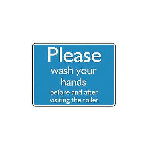 Aluminium Information Sign Please Wash Your Hands Before And After Visiting The Toilet 150x200mm Blue
