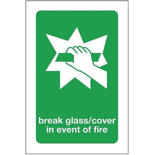 Aluminium Break Glass Cover In Event Of Fire Sign