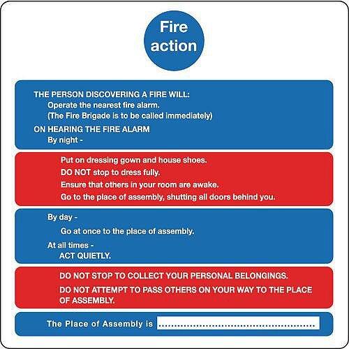 Sign Fire Action Notice 200X200 Aluminium