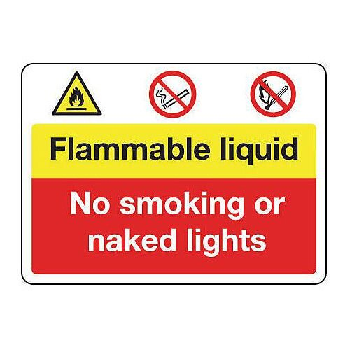 Fire Prevention Signs Flammable Liquid No Smoking Or Naked Lights Aluminium W900Xh600mm