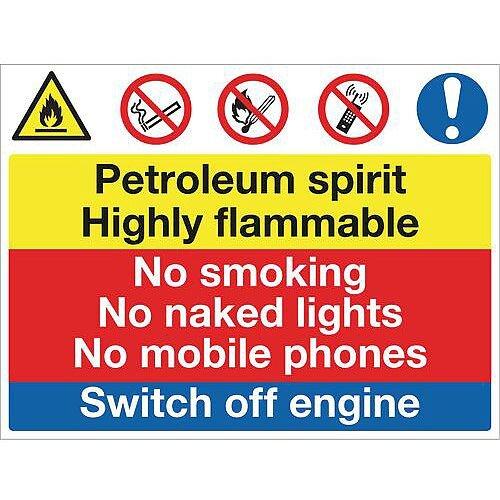 Fire Prevention Sign Petroleum Spirit Highly Flammable Aluminium W900Xh600mm