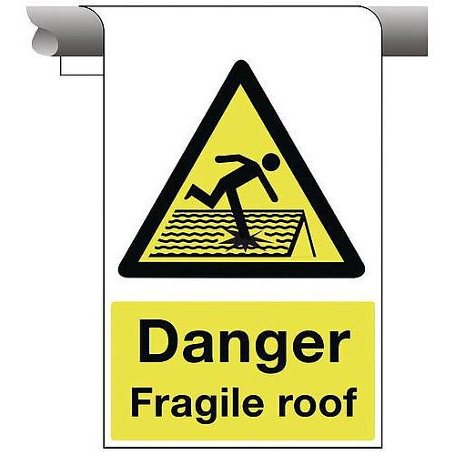 Sign Danger Fragile Roof 450X600 Aluminium