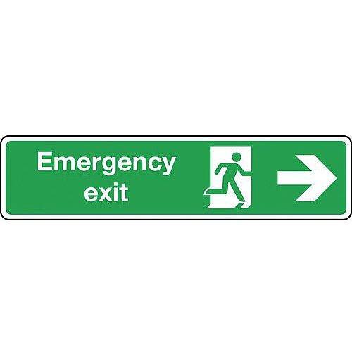 Aluminium Emergency Exit Arrow Right Slimline Sign H x W mm: 125 x 550