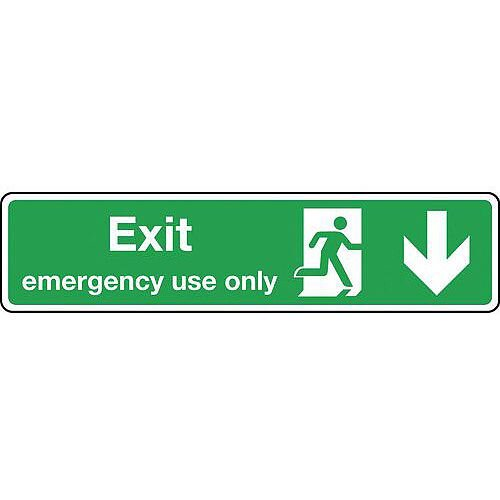 Aluminium Exit Emergency Use Only Arrow Down Slimline Sign H x W mm: 125 x 550