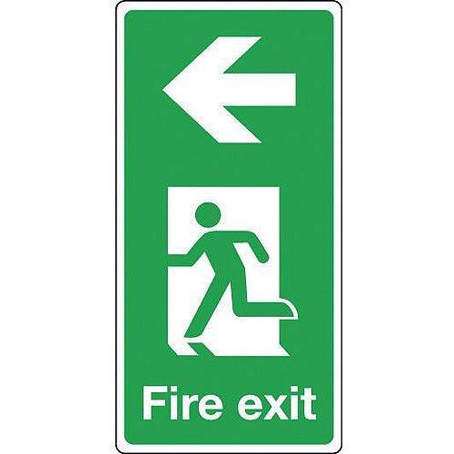 Aluminium Fire Exit Arrow Left Sign Portrait H x W mm: 500 x 250