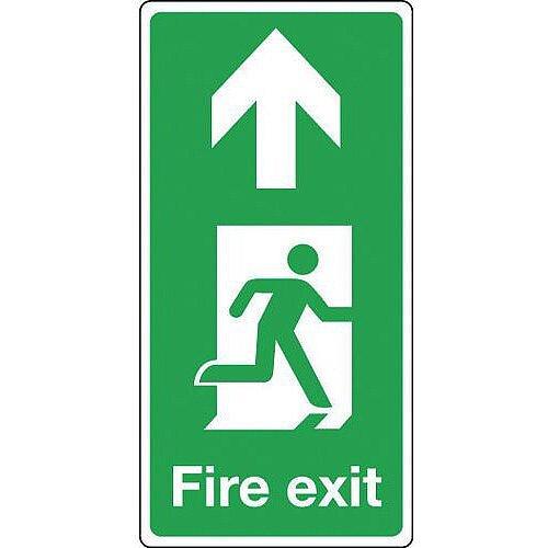Aluminium Fire Exit Arrow Up Sign Portrait H x W mm: 500 x 250