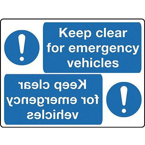 Aluminium Mirror Sign Header Keep Clear For Emergency Vehicles