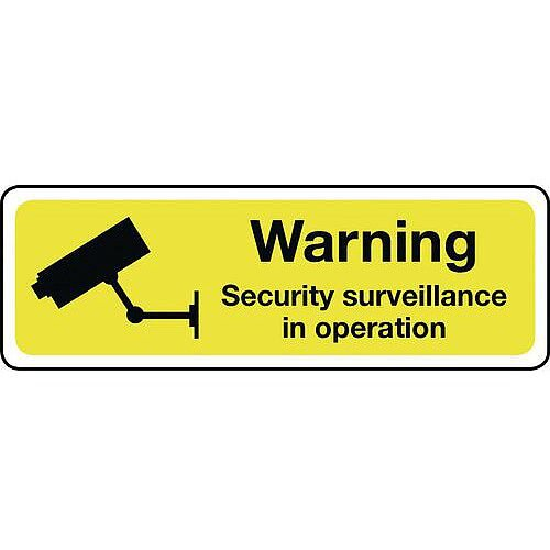 Aluminium Warning Security Surveillance Sign Hxw 100X300mm