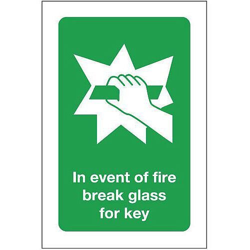Rigid PVC Plastic In Event Of Fire Break Glass For Key Sign