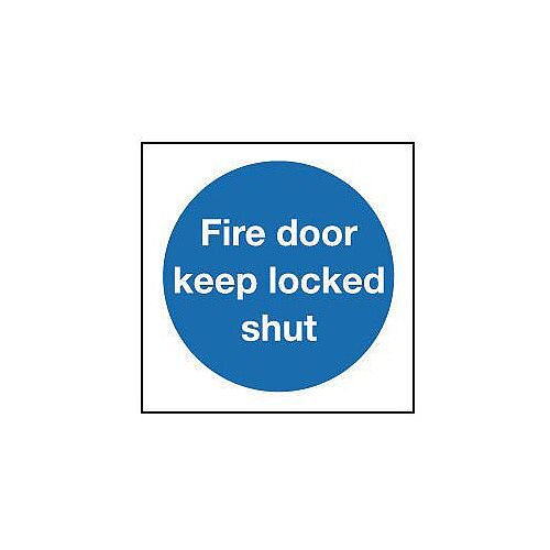 Rigid PVC Plastic Fire Door Keep Locked Shut Sign