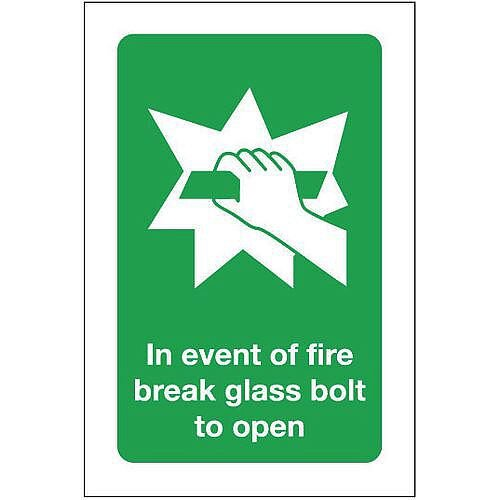 Rigid PVC Plastic In Event Of Fire Break Glass Bolt To Open Sign