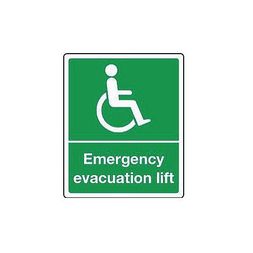 Rigid PVC Plastic Emergency Escape Signs For The Physically Impaired Emergency Evacuation Lift HxW mm: 300x250