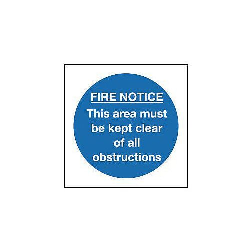 Rigid PVC Plastic Fire Notice Sign This Area Must Be Kept Clear Of All Obstructions